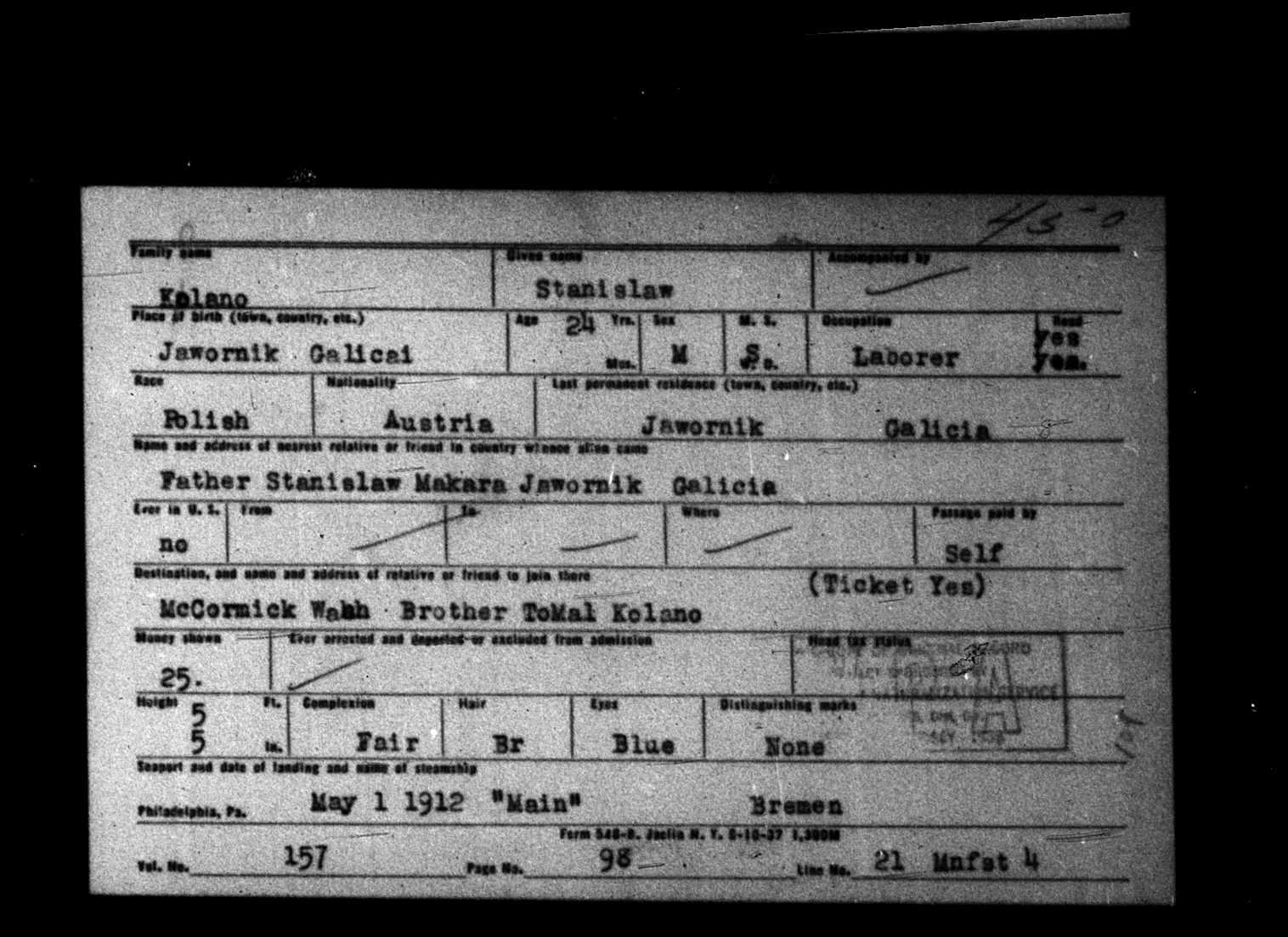Stanislaw Kalano Kolano ship ticket 1912 copy